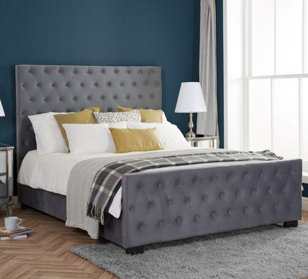 Birlea Marquis Grey Velvet Bed - Double, King or Super King