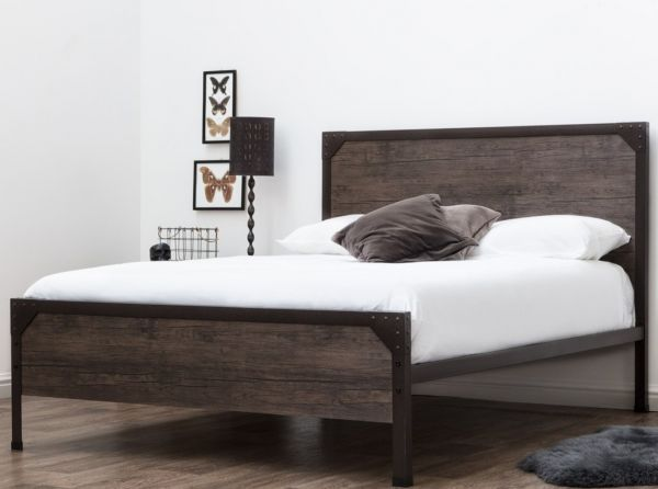 Marlow Industrial Metal Rustic Wood Panel Bed - Double
