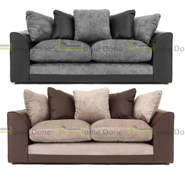 Dylan Chenille Fabric 3 Seater Sofa - Black Grey or Brown Beige