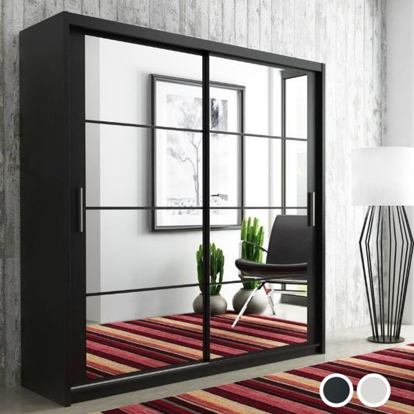 Deltum Sliding Door Wardrobe - Black, White