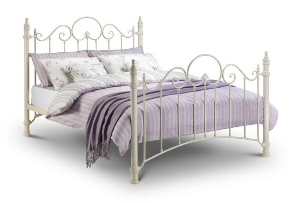 Julian Bowen Florence Stone White Metal Bed Frame