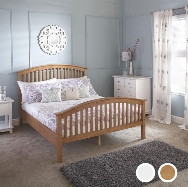 Madrid High Foot End Wooden Bed Frame - Oak or White