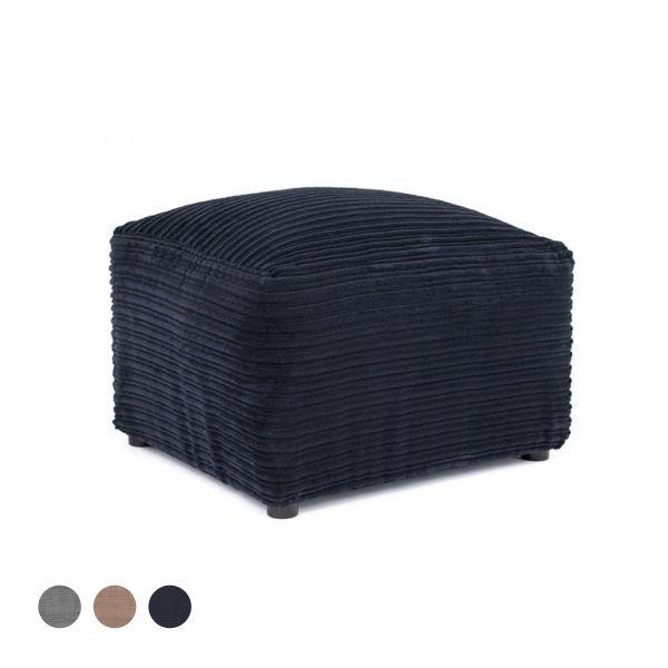 Porto Jumbo Cord Footstool - Black