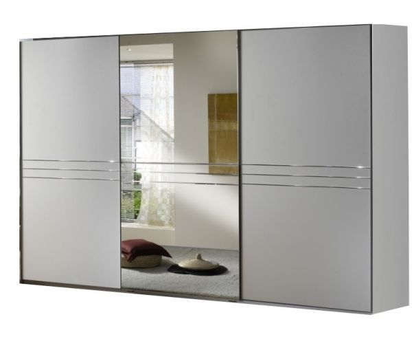 Medina 3 Door 1 Mirror Sliding Wardrobe - White