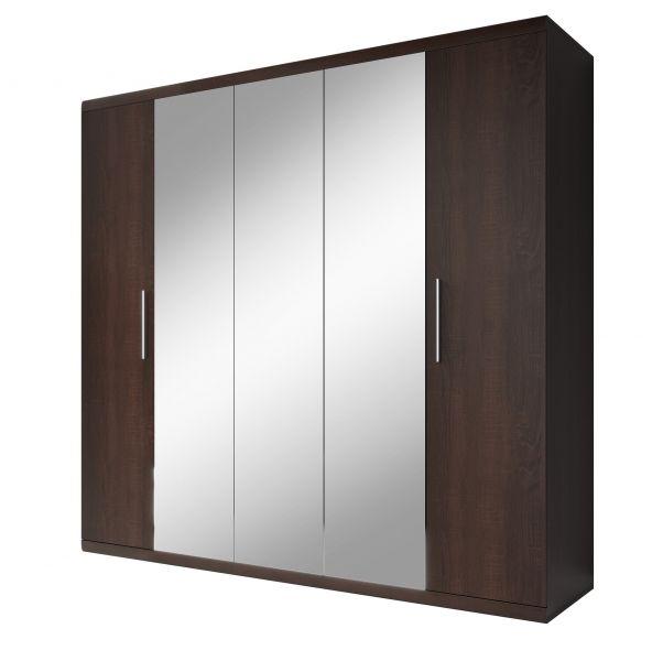 Moka 5-Door Mirrored Wardrobe - Dark Oak Sonoma