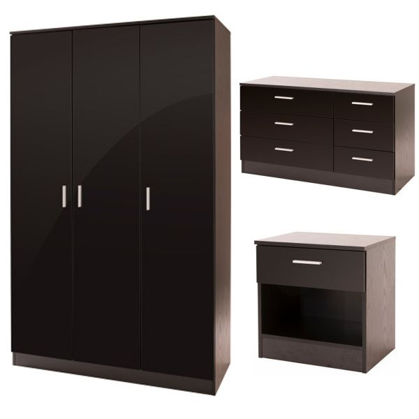 Ottawa 3PC 3-Door Wardrobe, 6-Drawer Chest & Bedside Set  - 3 Colours