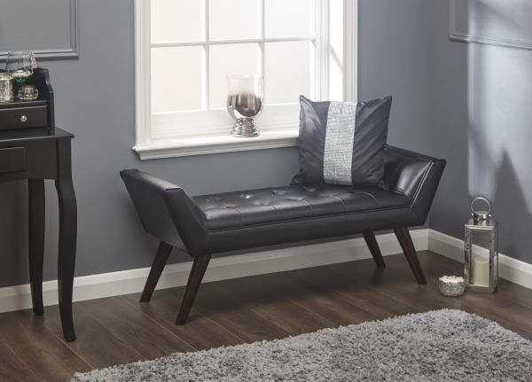 Milan Upholstered Window Bench - Black, Silver or Grey