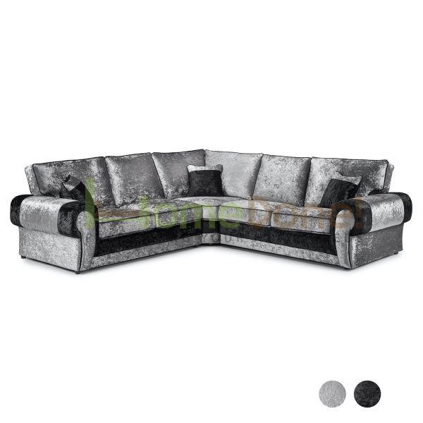 Mila Crushed Velvet Large Corner Sofa - Black/Silver