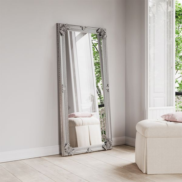 Lily Wooden Mirror - Silver