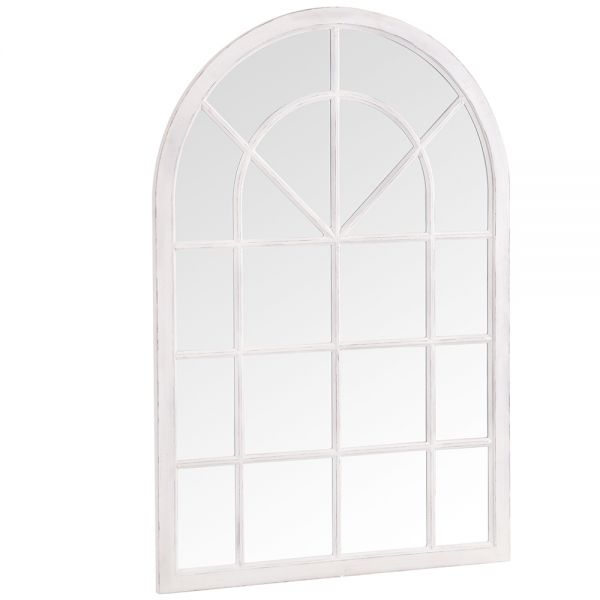 Small Arched Window Mirror - White