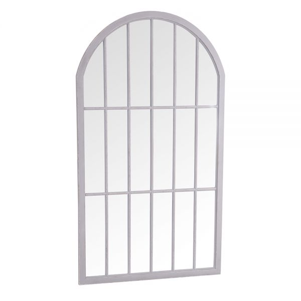 Large Arched Window Mirror - Grey