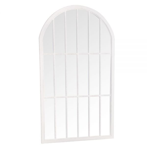 Large Arched Window Mirror - White