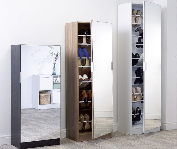 Modern 150cm Mirrored Shoe Storage Cabinet - Black, White or Oak