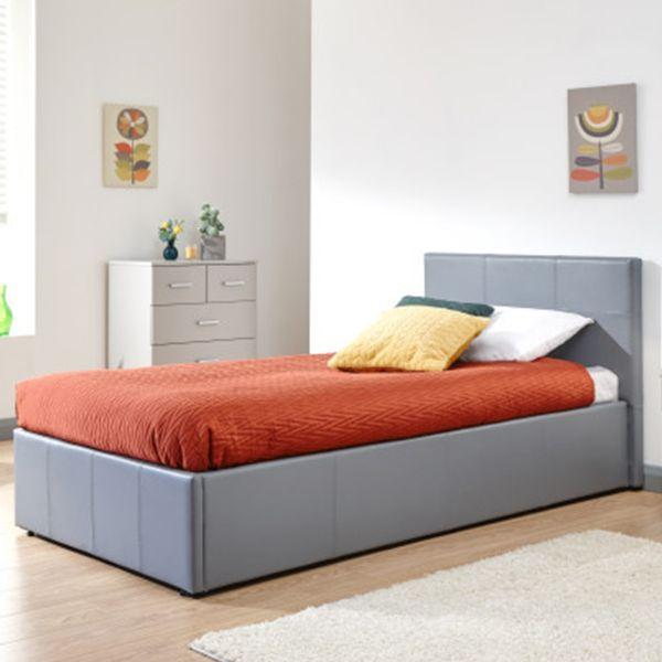 Side Lift Ottoman Grey PU Bed - 4 Sizes