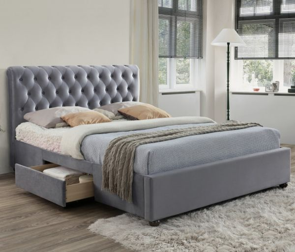Birlea Marlow Grey Velvet Fabric 2-Drawer Bed Frame