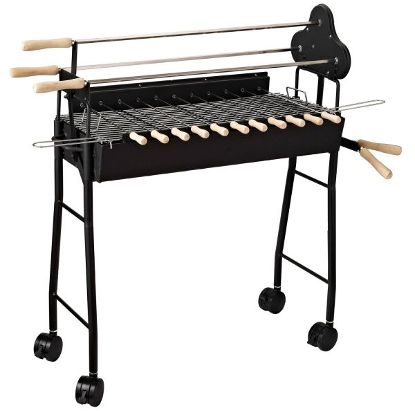 Outsunny Black Steel Charcoal BBQ Trolley Grill
