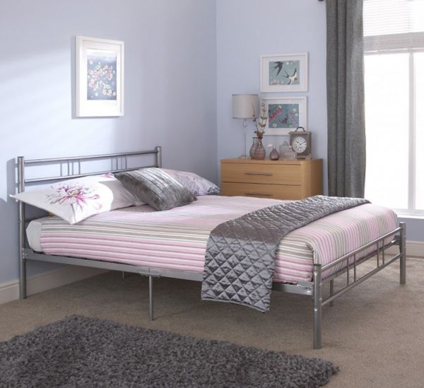Morgan Silver Metal Bed Frame - Single, Small Double or Double