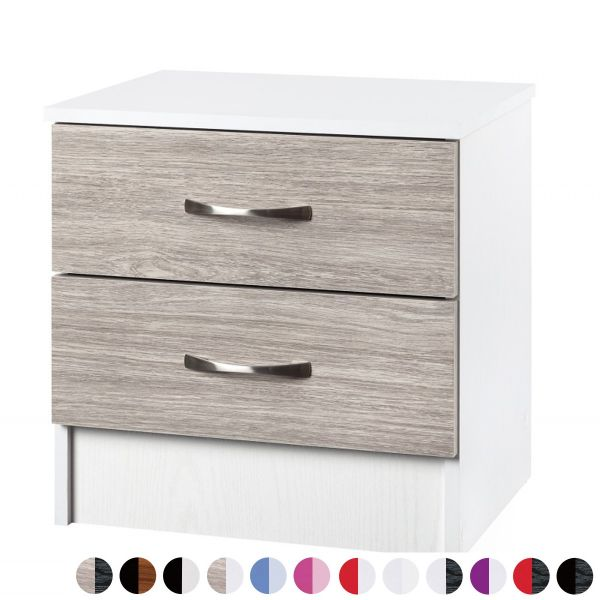 Marina Gloss 2-Drawer Bedside Table - 12 Colours