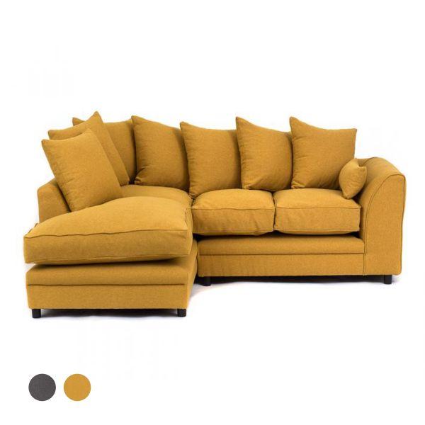 Dorota II Fabric Corner Sofa - Mustard