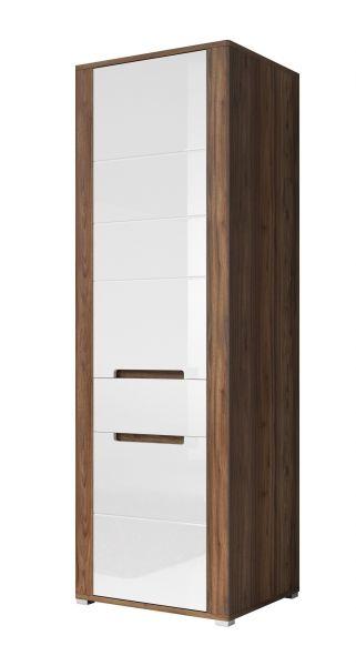 Naima 1-Door Wardrobe - Canyon Walnut & White Gloss