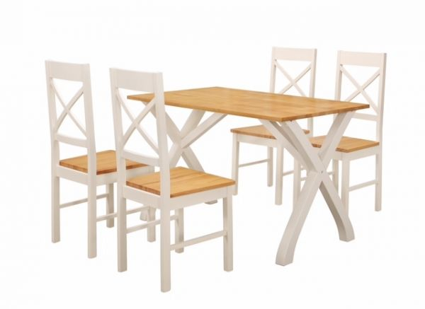 LPD Normandy Wood Dining Table & Chairs Set - White
