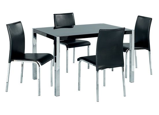 LPD Novello Gloss Dining Table & Faux Leather Chairs Set - Black or White