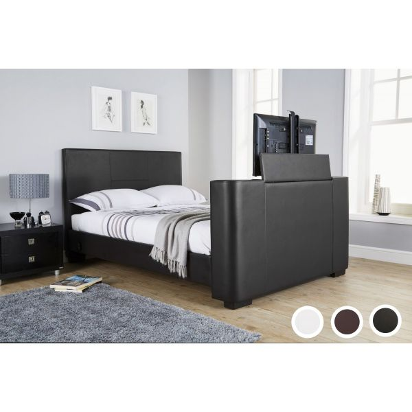 Newark PU Leather Electric TV Bed & Mattress Options - Black or White