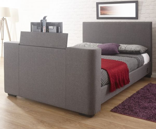 Newark Grey Fabric Electric TV Bed Frame - Double or King