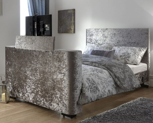 Newark Silver Crushed Velvet Electric TV Bed & Mattress Set - Double or King