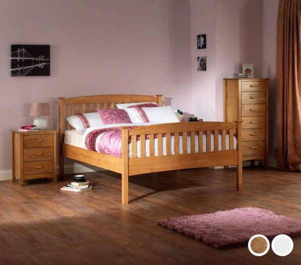 Eleanor High Footend Wood Bed - 5 Sizes - Oak or White