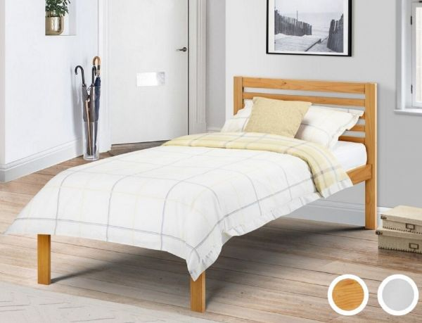 Julian Bowen Slocum Stone White or Pine Single Bed Frame