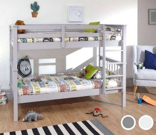 Novaro Single Bunk Bed Frame - Grey or White