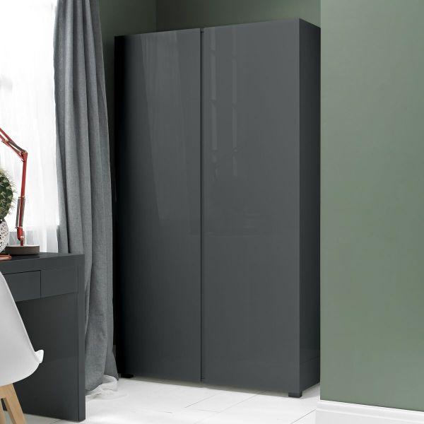 LPD Puro 2 Door High Gloss Wardrobe - Charcoal