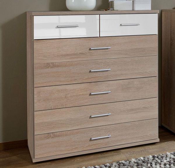 Gamma 5+2 Drawer Storage Chest - Oak and White Gloss