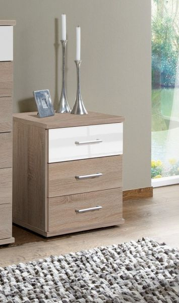 Gamma 3 Drawer Bedside Chest - Oak and White Gloss