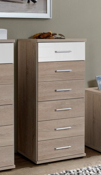 Gamma 6 Drawer Narrow Storage Chest - Oak and White Gloss