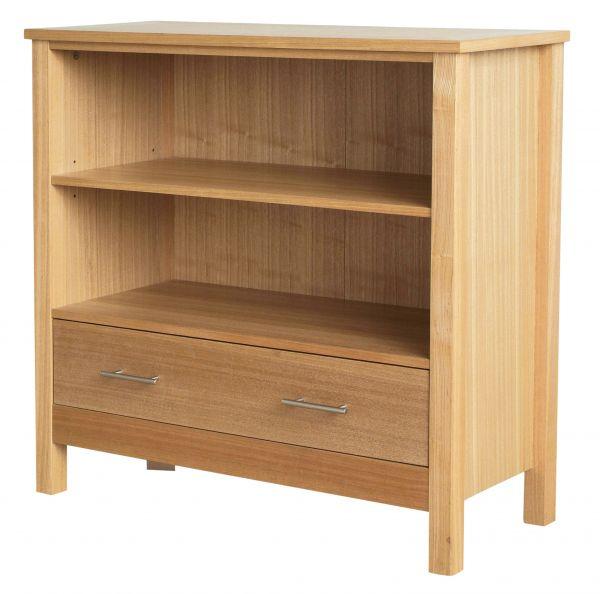 LPD Oakridge 1 Drawer Low Bookcase - Oak