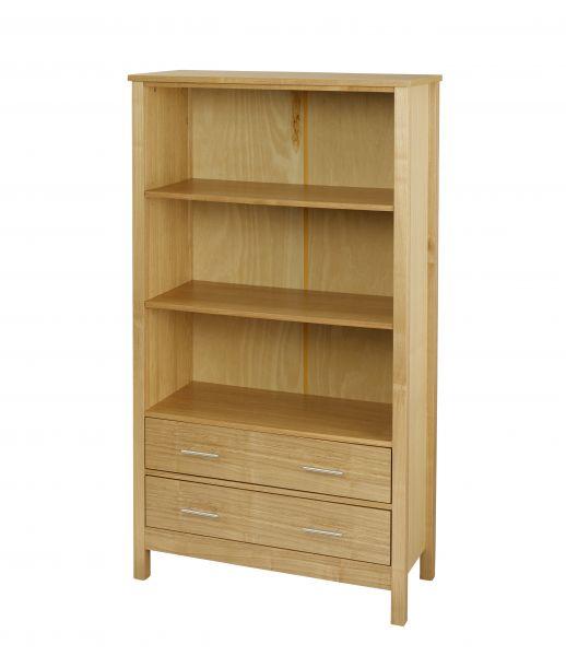 LPD Oakridge Tall 3-Tier 2 Drawer Bookcase - Oak