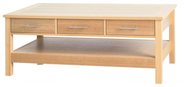 LPD Oakridge 3 Drawer Coffee Table - Oak