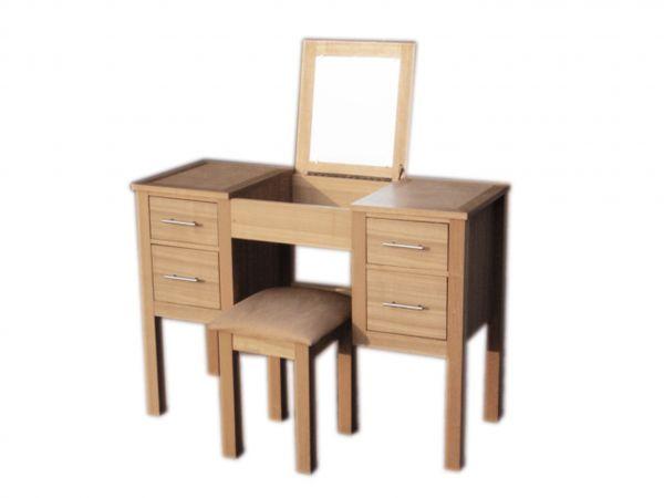 LPD Oakridge 4 Drawer Dressing Table & Stool Set - Oak