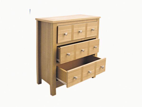 LPD Oakridge 3 Drawer Storage Chest - Oak