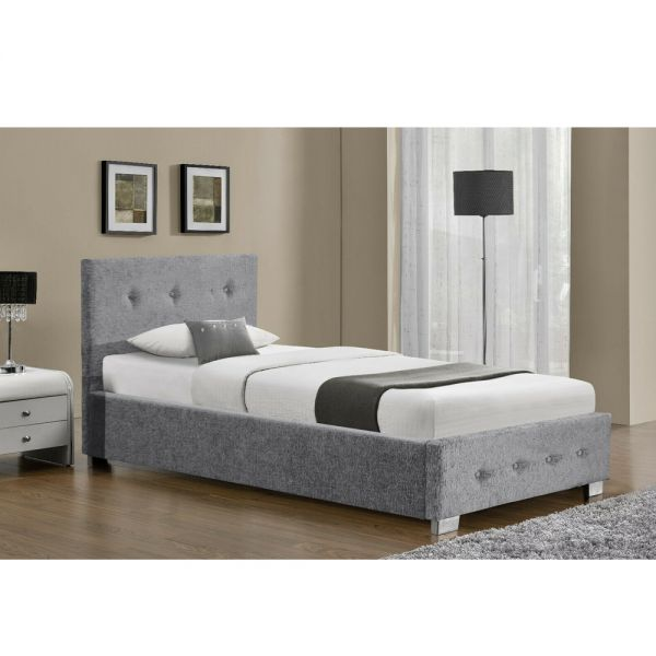 Ottoman Chenille Silver Fabric Bed Extra Storage - Single 3Ft