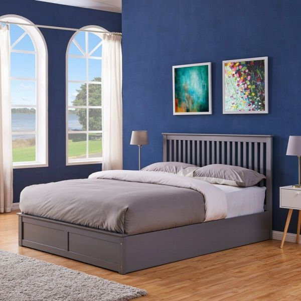 Ottoman Storage Bed Solid Wood Grey and White Colours - 3 Sizes