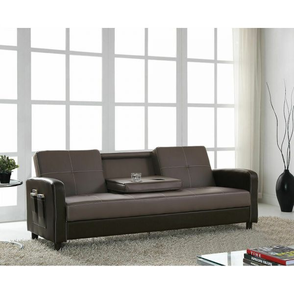 3 Seater Sofabed Faux Leather Pocket Cup Holder