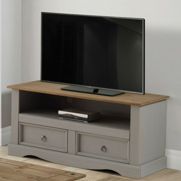 Corona Solid Pine TV Unit - Grey Wax