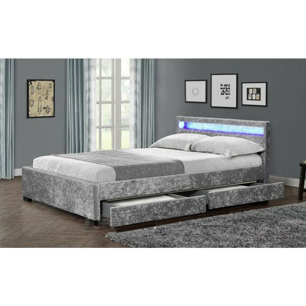 Crushed Velvet or Faux LED 4 Drawer Storage Bed With Mattress options - 2 Sizes