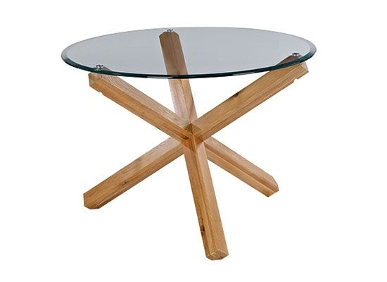 LPD Oporto Medium Round Glass Dining Table - Oak