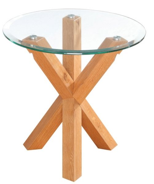 LPD Oporto Round Glass Lamp Table - Oak