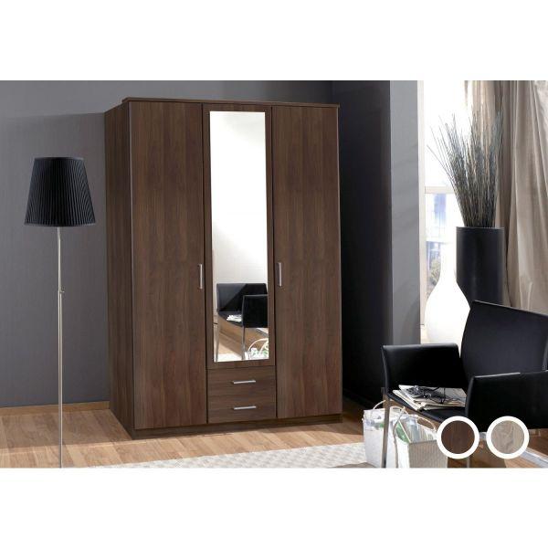 Omega 3 Door 2 Drawer Mirrored Wardrobe - Oak or Walnut