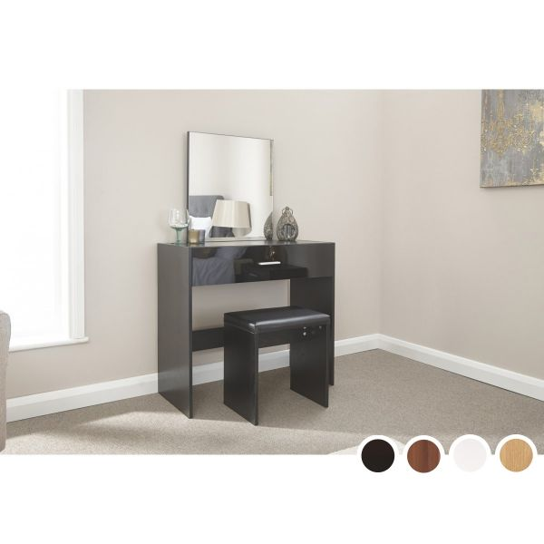 Ottawa Dressing Table & Stool Set - Black, Walnut, Oak or White